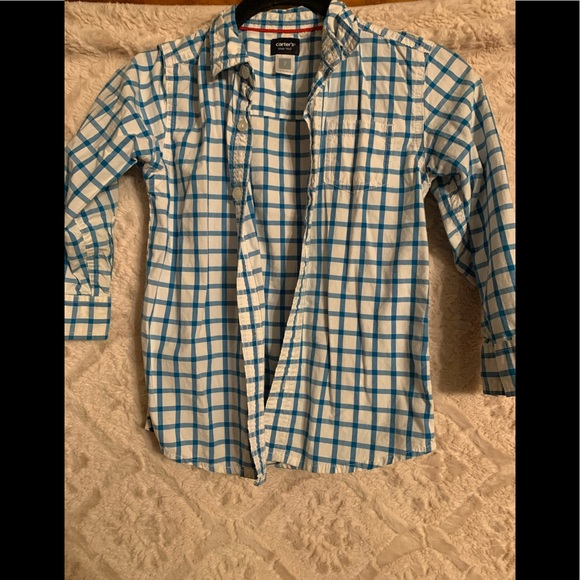 Carter's Other - Carter blue and white plaid button up shirt